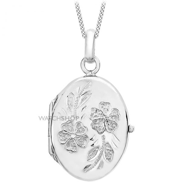 Ladies Essentials 9ct White Gold Large Oval Daisy Locket AJ-14010025
