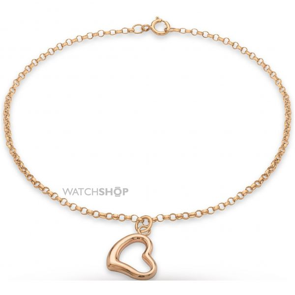 Ladies Essentials 9ct Rose Gold Heart Bracelet AJ-11040327