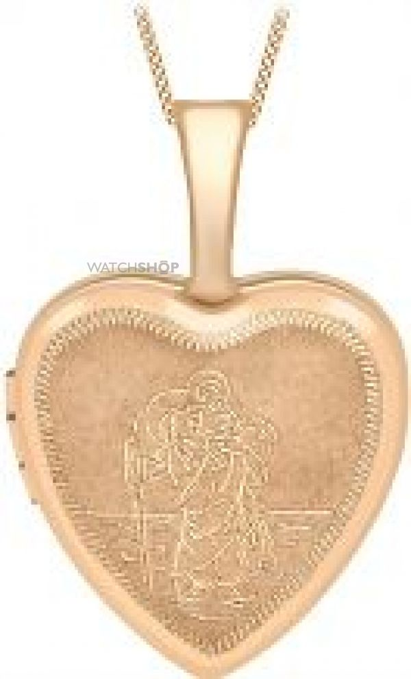 Ladies Essentials 9ct Gold 12mm St Christopher Heart Shaped Locket AJ-14010050