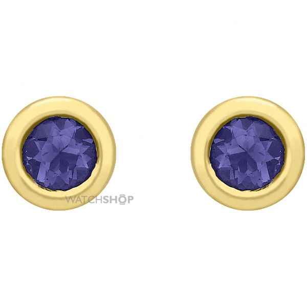 Ladies Essentials 9ct Gold Iolite Stud Earrings AJ-12152345