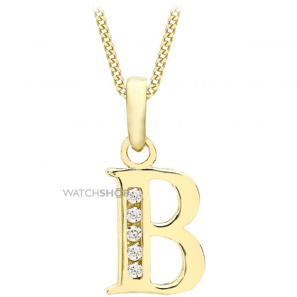 Ladies Essentials 9ct Gold Initial B Cubic Zirconia Pendant AJ-14430006