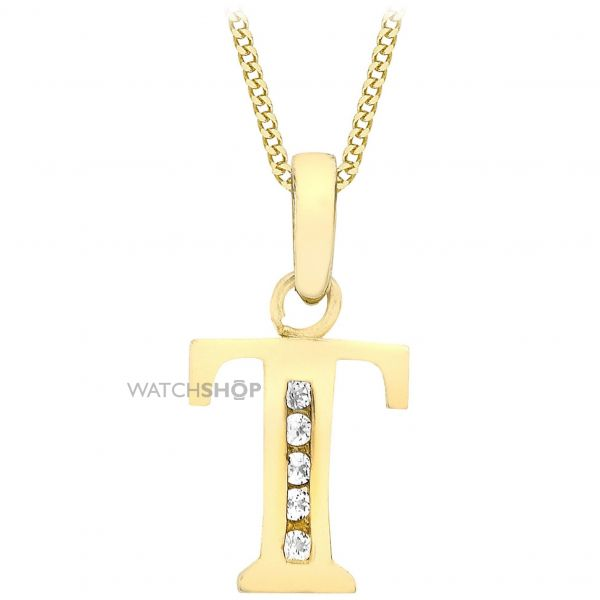 Ladies Essentials 9ct Gold Initial T Cubic Zirconia Pendant AJ-14430019