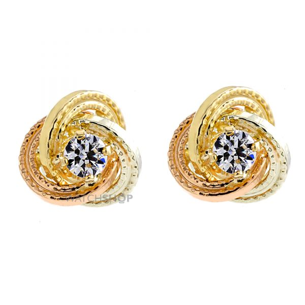 Ladies Essentials Multi colour gold Cubic Zirconia Knot Stud Earrings AJ-15043627