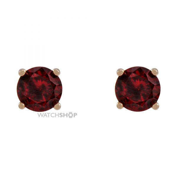 Ladies Essentials Sterling Silver Cubic Zirconia Red Stud Earrings AJ-37230905