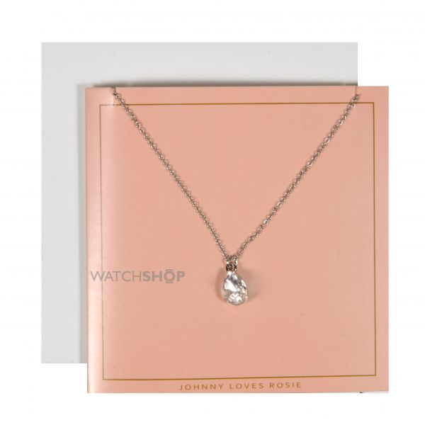 Ladies Johnny Loves Rosie Base metal TearNecklace Gift Card JLR-GCARD-SILVT