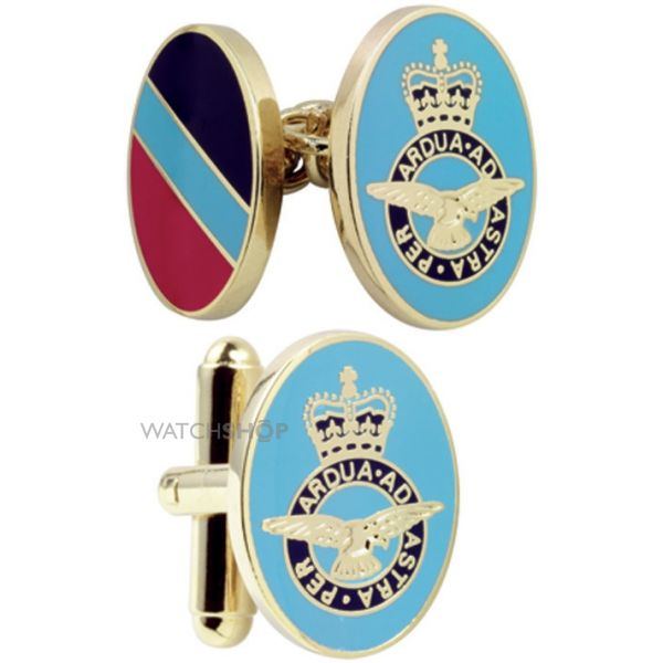 Mens Smart Turnout Cufflinks PVD Gold plated Military RAF/40-TB