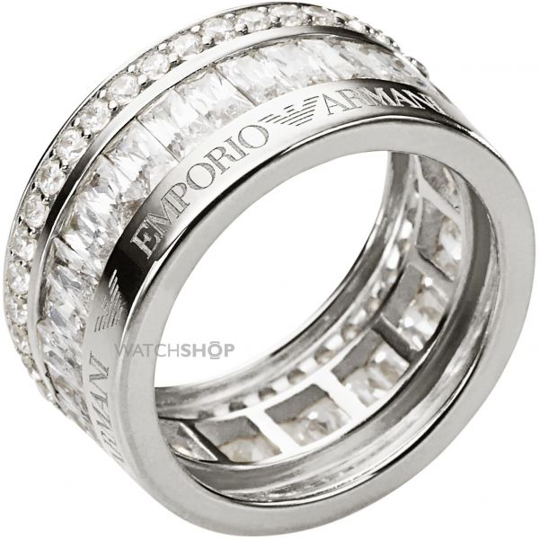 Ladies Emporio Armani Sterling Silver Size S RING EG3166040510