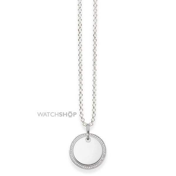 Ladies Thomas Sabo Sterling Silver DISK PAVE NECKLACE KE1480-051-14-L45V