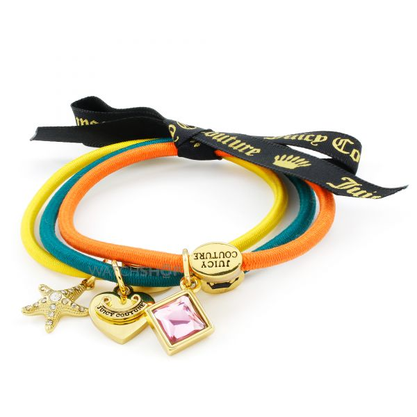 Ladies Juicy Couture Gold Plated Set Of 3 Charmy Hair Elastics WJW950-753-U