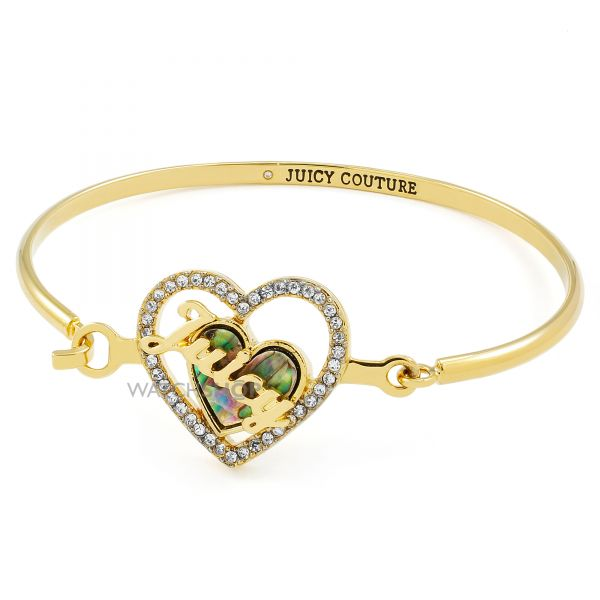 Ladies Juicy Couture Gold Plated Mother Of Pearl Heart Bangle WJW866-710-U