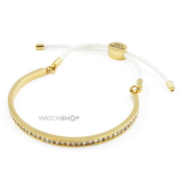 Ladies Juicy Couture Gold Plated Pave Cuff And Cord Bracelet WJW905-113-U