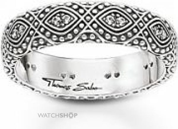 Ladies Thomas Sabo Sterling Silver Size S.5 Ethno Ornamentation Ring TR2092-643-14-60