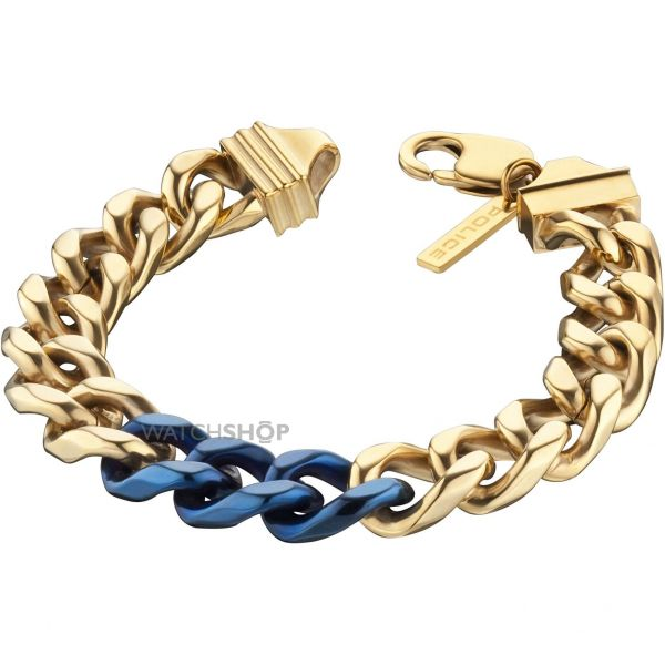 Mens Police PVD Gold plated Bichrome Bracelet 25685BSG/03-L