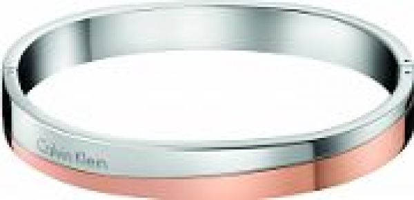 Ladies Calvin Klein Two-Tone Steel and Rose Plate HOOK BANGLE SIZE M KJ06PD20010M