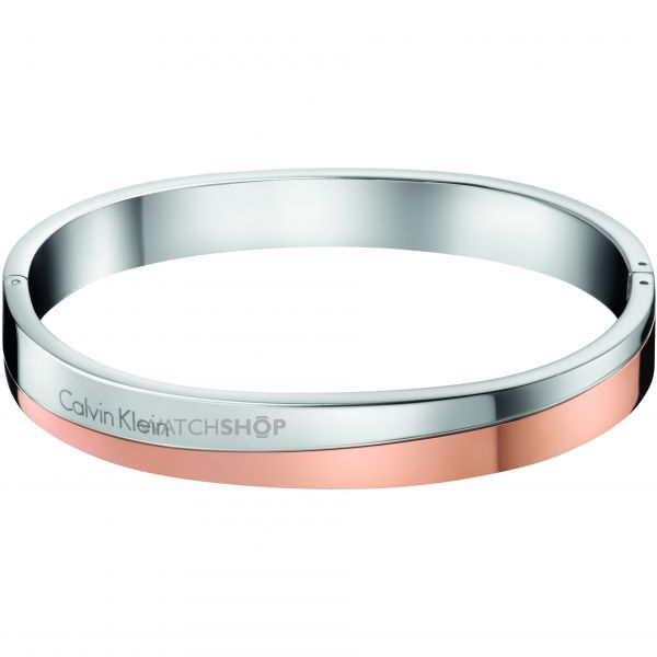 Ladies Calvin Klein Two-Tone Steel and Rose Plate HOOK BANGLE SIZE S KJ06PD20010S