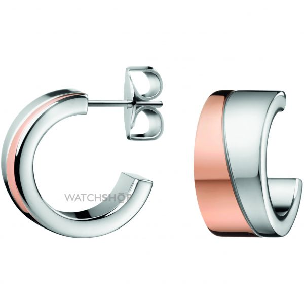 Ladies Calvin Klein Two-Tone Steel and Rose Plate HOOK EARRINGS KJ06PE200100