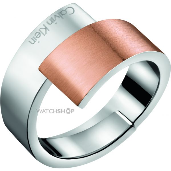 Ladies Calvin Klein Two-Tone Steel and Rose Plate INTENSE RING SIZE J KJ2HPR280105
