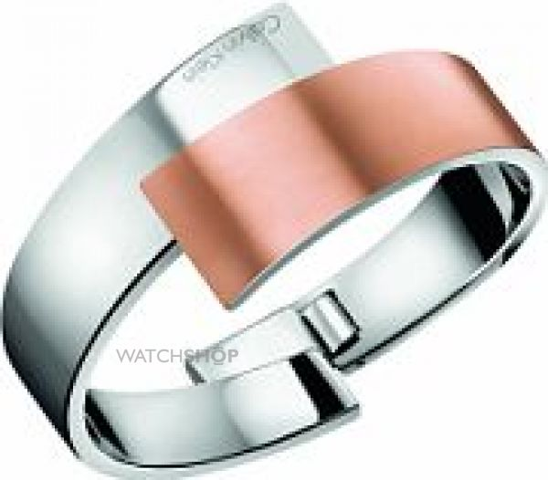 Ladies Calvin Klein Two-Tone Steel and Rose Plate INTENSE BANGLE SIZE M KJ2HPD28010M