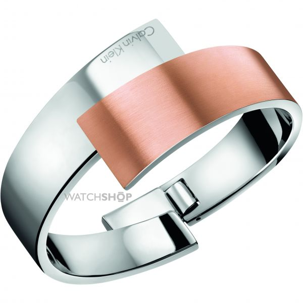 Ladies Calvin Klein Two-Tone Steel and Rose Plate INTENSE BANGLE SIZE XS KJ2HPD2801XS