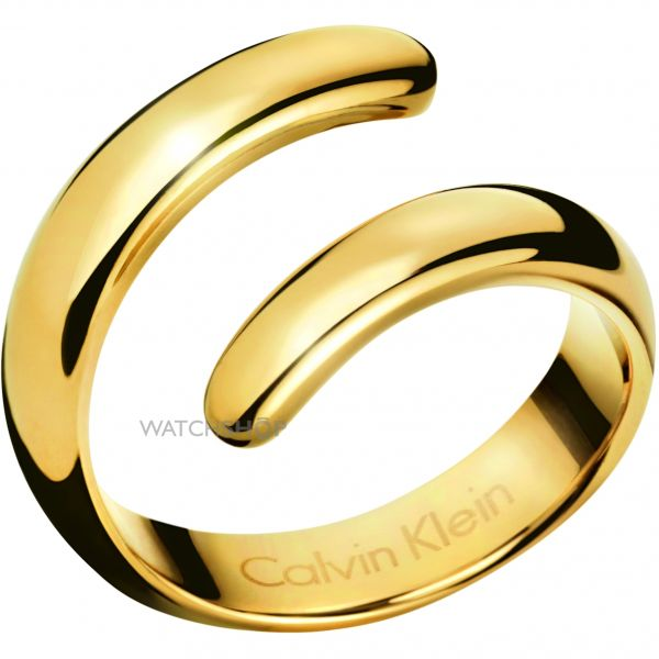 Ladies Calvin Klein PVD Gold plated Ring Size P Embrace KJ2KJR100108