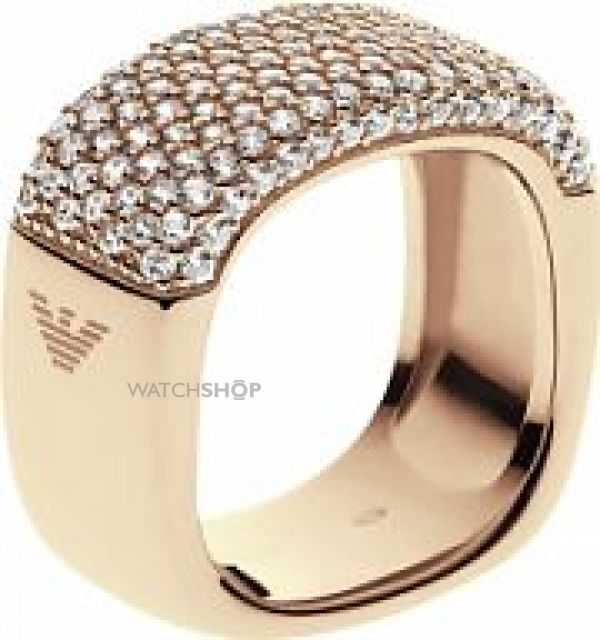 Ladies Emporio Armani Sterling Silver Size P Pure Pave Ring EG3263710508
