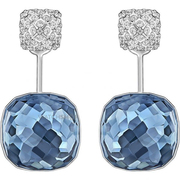 Ladies Swarovski Rhodium Plated Dot Earrings 5182617