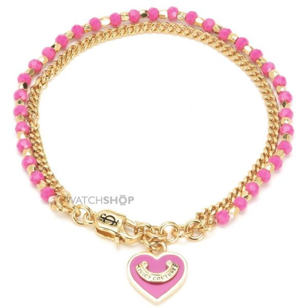 Ladies Juicy Couture PVD Gold plated Heart Bead & Chain Bracelet WJW839-655-U