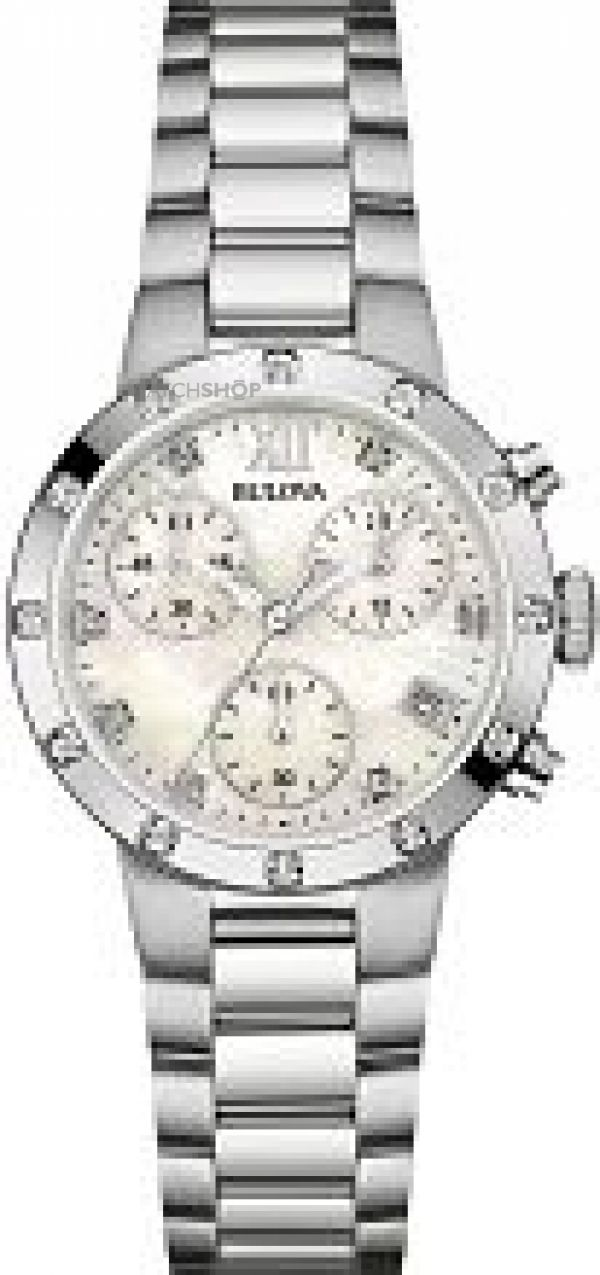 Ladies Bulova Diamond Gallery Chronograph Diamond Watch 96W202