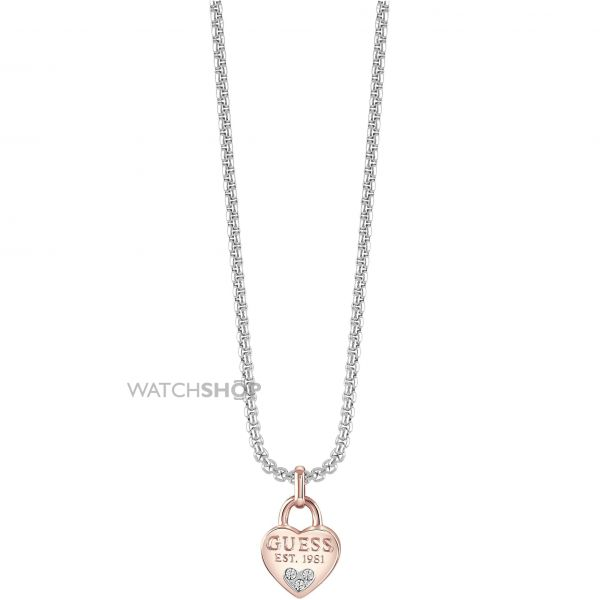 Ladies Guess Two-Tone Steel and Rose Plate All About Shine Necklace UBN82095