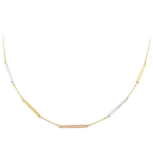 White, Rose and Yellow Gold Necklace 17in/43cm
