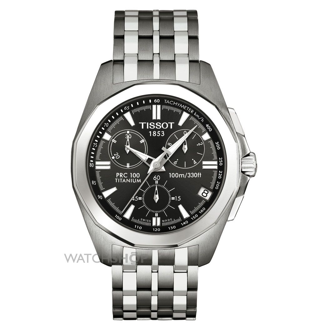 Men 39 s tissot prc100 titanium chronograph watch t0084174406100 watch for Titanium watches