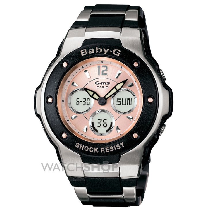 ladies 39 casio baby g alarm chronograph watch msg 300c. Black Bedroom Furniture Sets. Home Design Ideas
