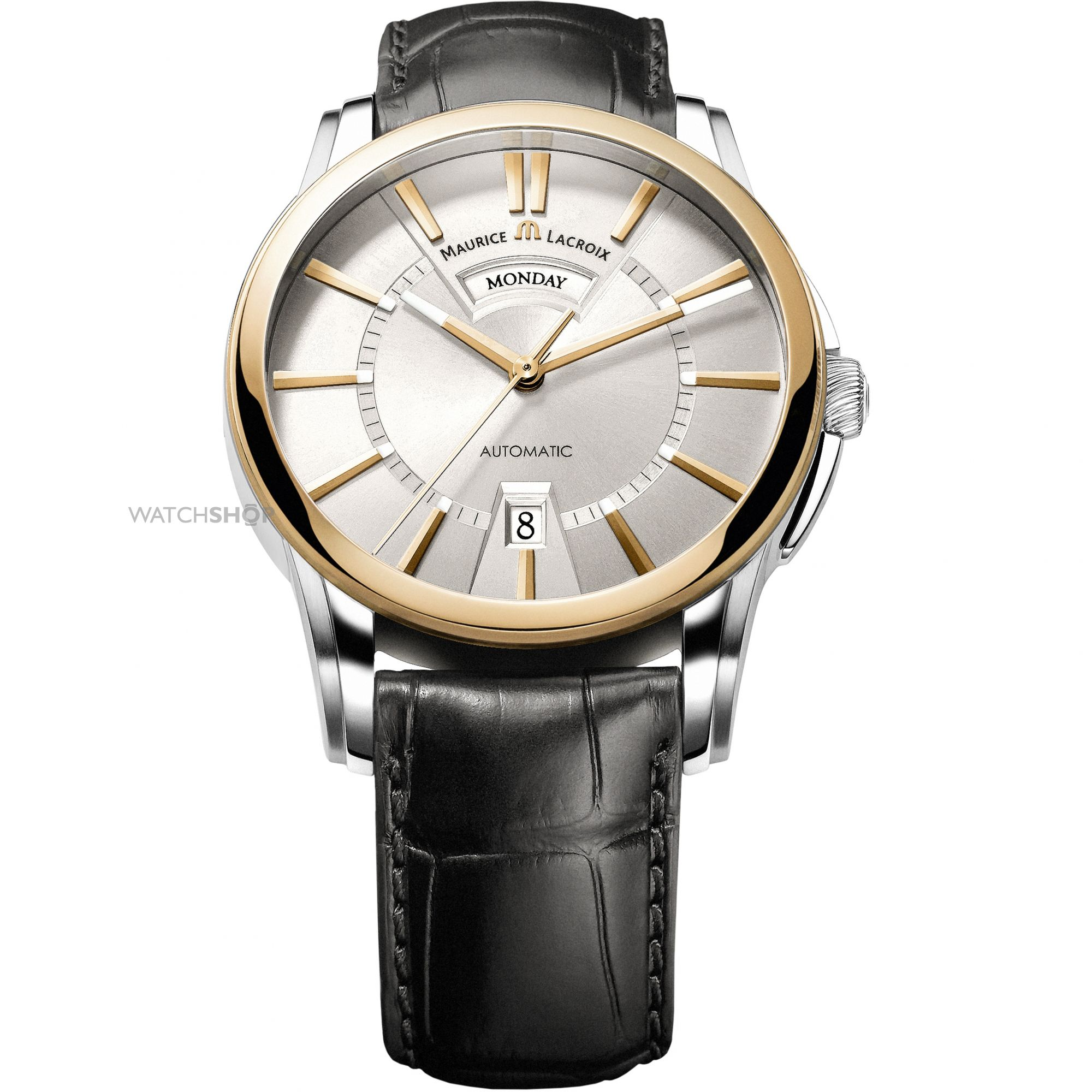 men s maurice lacroix pontos day date 18ct gold automatic watch mens maurice lacroix pontos day date 18ct gold automatic watch pt6158 ps101 13e