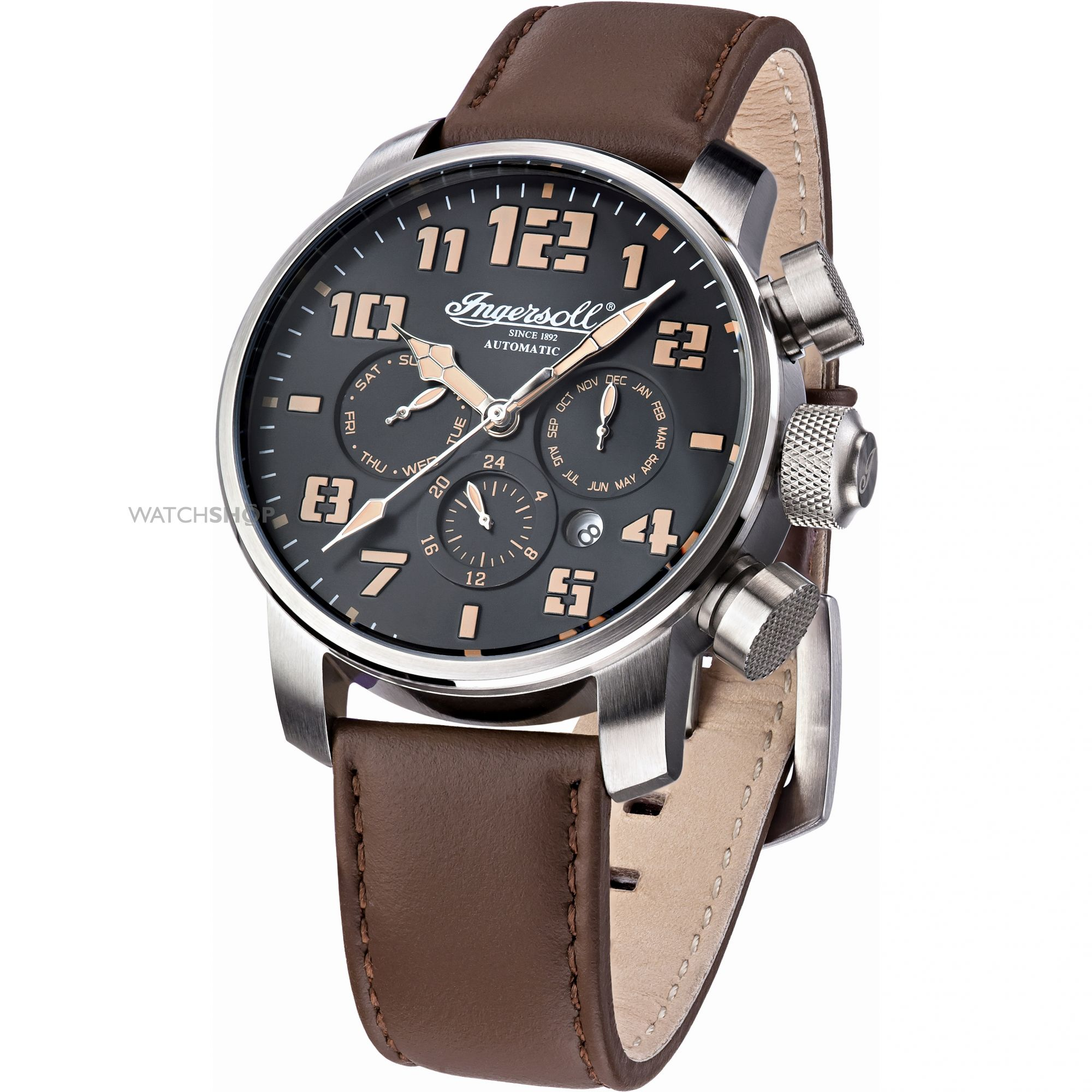 men s ingersoll automatic automatic chronograph watch in1224sbk mens ingersoll automatic automatic chronograph watch in1224sbk